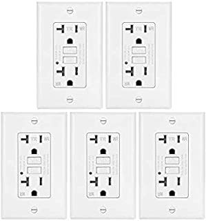 Dynamics GFCI Weather-Proof, Tamper-Resistant Receptacle with LED Indicator, 20-Amp, White (5 Pack)