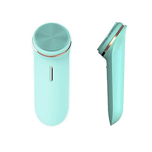 Sonic Facial Cleansing Brush,Vibrating Face Scrubber,IPX7 Waterproof Silicone Electric Face Cleansing Brush Device,5 Speed Modes, Rechargeable,Deep Cleaning for All Skins (Blue)