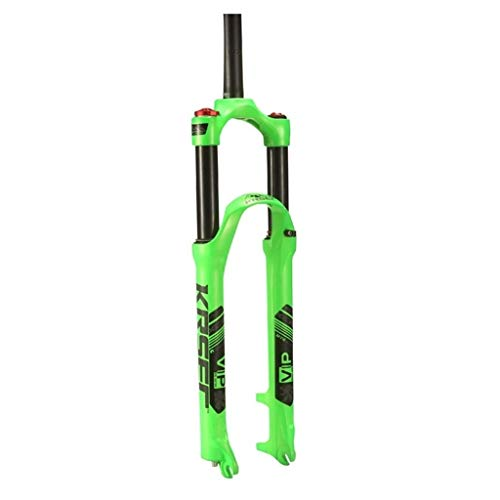 QHY Bicycle forks Bike Fork 26' 27.5' 29' MTB Air Suspension Disc Brake Bicycle Front Fork Manual Control 1-1/8' Steerer 110mm Travel QR (Color : Green, Size : 27.5')