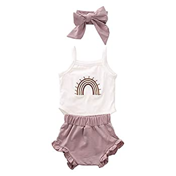 Newborn Baby Girl Sleeveless Bodysuit Cotton Halter Rainbow Romper Camisole Onesie Tank Top One Piece Pajamas  3Pcs White 0-3 Months
