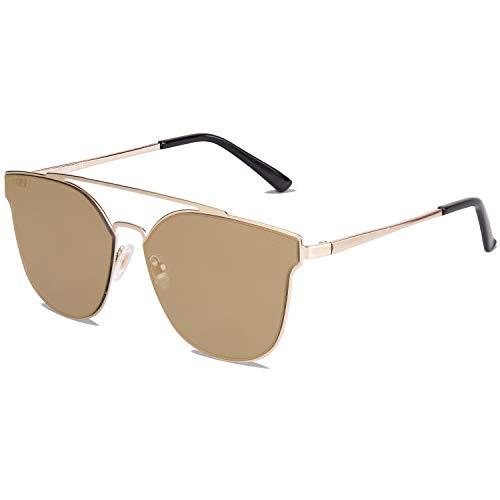 SOJOS Handgemacht Rostfreier Sathl Hochwertig Kein Nickel Schicke Sonnenbrille für Damen Herren Verspiegelt SJ1100 mit Gold Rahmen/Gold Verspiegelte Linse