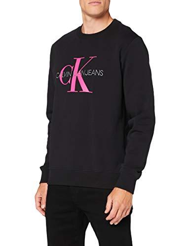 Calvin Klein Monogram Reg Crew Neck Maglione, CK Black/Pink Glow, S Uomo