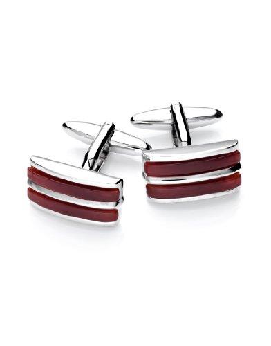 Vincenzo Boretti Herren Manschettenknöpfe rechteckig Silber-rot echter Achat Box Etui edel elegant zum Hemd für Business Hochzeit