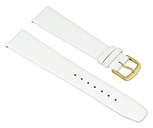 Graf Manufaktur Jazz Uhrenarmband Kalbsleder Band Weiss 26218G, Stegbreite:15mm