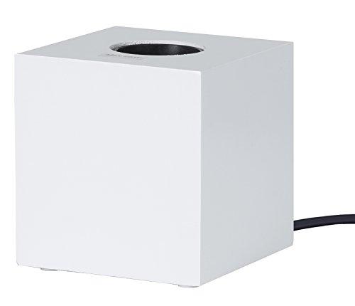 """Lampada di legno """"Kub"""", attacco E27, colore bianco, con interruttore, 9cm x 9cm (lampadina non inclusa)"""