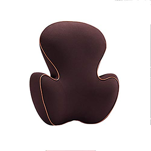 ZnMig Comfortable Lumbar Support Pillow Comfortable Best Full Lumbar Support Pillow Backrest for Car Seat Home Office Chair Car Memory Foam Lumbar pad (Color : Brown, Size : Free Size)