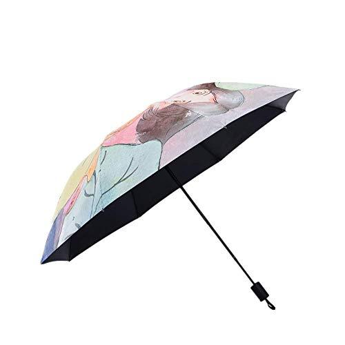 Y-S Taschenschirme Uv-Schutz Sonnencreme Regen und Sonnenschein Persönlichkeit Mode Schwarzer Kleber Sonnenschirm Regenschirm Tracking-Innerer Schwarzer Kleber, Lotus-innerer schwarzer Kaugummi