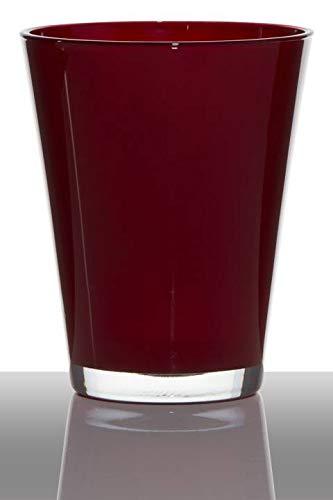 INNA-Glas Glasvase Glas Anna, Trichter - rund, rot, 17cm, Ø 14cm - Konische Vase - Blumenvase