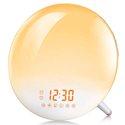 Te-Rich Sunrise Alarm Clock, Wake Up Light with FM Radio/Dual Alarm/7 Nature Sounds & Light Colors/Snooze/20 Brightness, Sleep Aid Lamp Dawn Simulator for Heavy Sleepers/Kids/Teen Girls Boys Bedrooms
