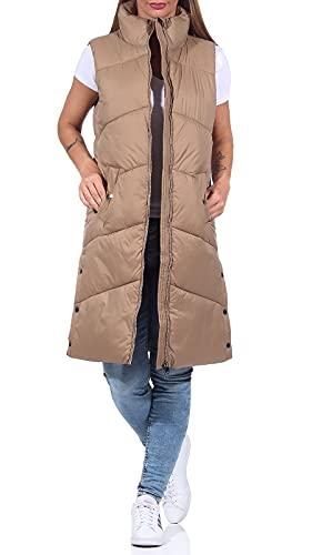 VERO MODA Damen Steppweste VMUppsala 3/4 Waistcoat Lange Mantelweste 10250638 Tigers Eye XS