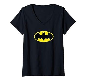 Womens Batman Classic Logo V-Neck T-Shirt