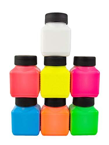 PSYWORK 7er-Pack Dancing Paint Colour Schwarzlicht Dispersionsfarben Farbe Set Neonfarben UV Licht Leuchtfarben Gemischt Kunst Basteln (7 x 100 ml)