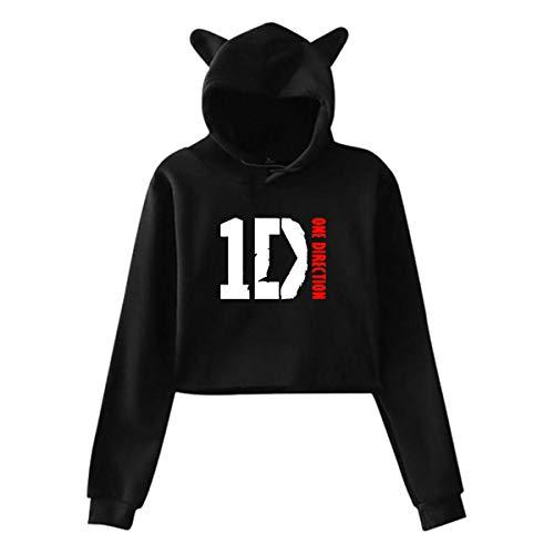 One Direction 1d Womens Music Crop Top Sweatshirt Casual Cat Ear Hoodie Black