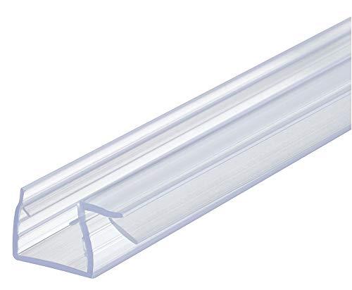 Gedotec Vervangende afdichting 90° doucheafdichting 10-12 mm glazen deur afdichting voor glazen douchewanden | douchecabines afdichting met 2000 mm | PVC transparant | 1 stuk - afdichtingslip 200 cm voor glazen deuren