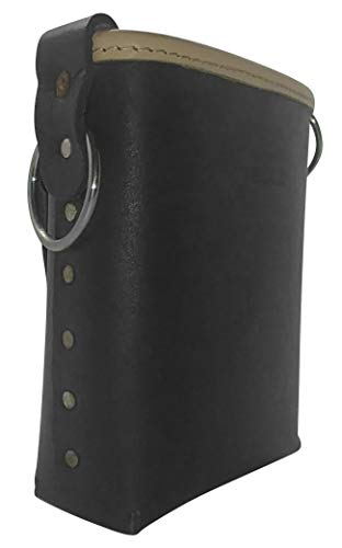 Leather Gold 3875-BLK Bolt Bag with 2 Spud Wrench Holders, Wide Mouth | Ironworker Bolt Bag | Premium, Ultra Durable Buffalo Leather | Commercial Grade Sliding Tool Belt Accessory | Medium Size Pouch