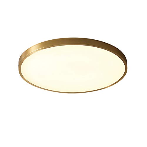 Moderne Einfachheit Design 27W LED Runde Deckenleuchten, Messing Lampenkörper PMMA hohe Transmission Lampenschirm Kalt warmes weiße Dimmbar, für Flur Garderobe Balkon Deckenlampe Φ30CM (Ø30cm)