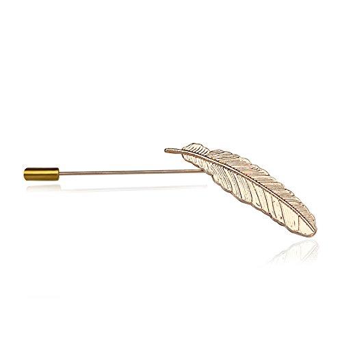 Spilla uomo,Feather spilla camicia da uomo corsage piuma foglia forma bavero spilla pin cravatta cappello lusso, moda spilla d'oro