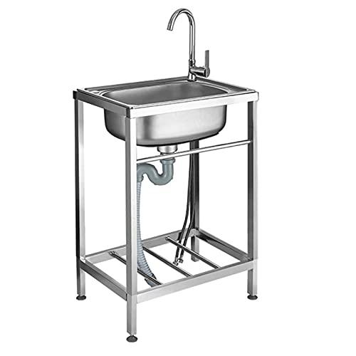 Fregadero de cocina, fregaderos comerciales de acero inoxidable, lavabo con grifo, fregadero individual para hostelería, fregadero de jardín interior exterior para lavabos de garaje, 0,6 mm de grosor