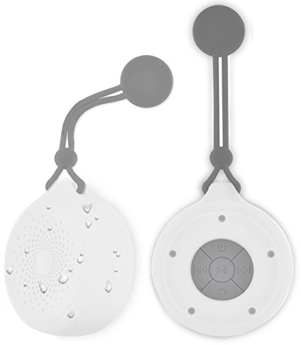 Aduro Shower Speaker AquaSound Waterproof Speakers, Portable Wireless Speaker with Hanging Susction Cup and Built-in Mic Waterproof with 6 Hrs of Playtime, Music Controls (White)
