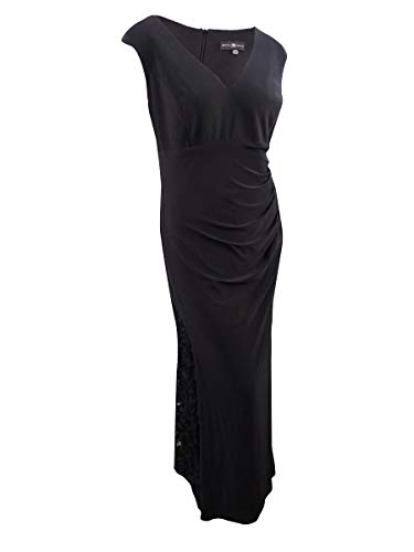 Betsy & Adam Womens Plus Lace Inset Ruched Evening Dress Black 16W