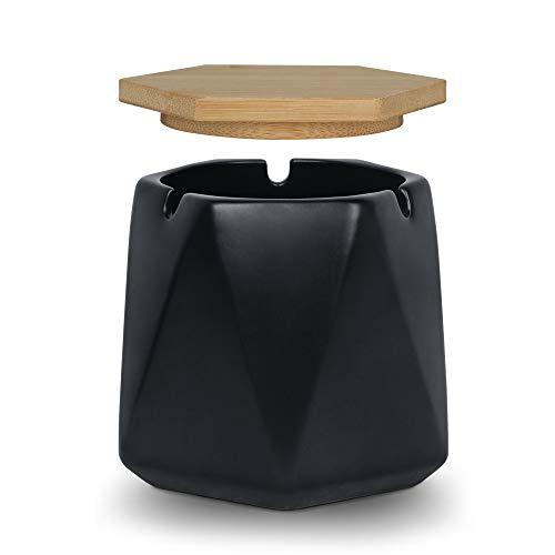 ONEDERZ Aschenbecher für Draußen mit Deckel, Keramik Windaschenbecher Geruchsdicht Sturmaschenbecher für Home Office Dekoration (schwarz)