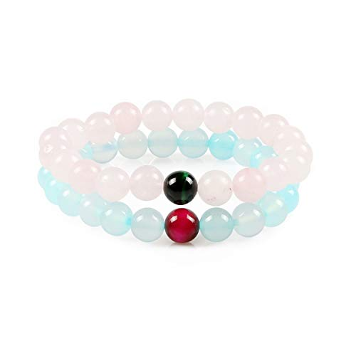 Sunwd Cuentas Pulsera,Brazalete 8Mm Rose Quartz Beads with Blue Chalcedony Beads Bracelet Lucky For Lovers Simple Single Lap Jewelry 17cm