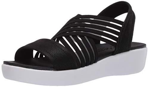 Skechers womens Light STAR - SOLAR POWER - Cross Band Sling Back Sandal Ankle Strap, Black, 11 M US