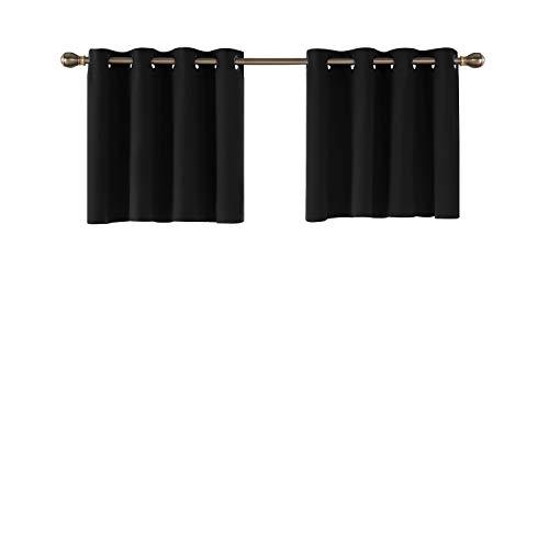 Deconovo Blickdichte Scheibengardine mit Ösen Kinderzimmer Halbvorhang Balkon 61x132 cm Schwarz 2er Set