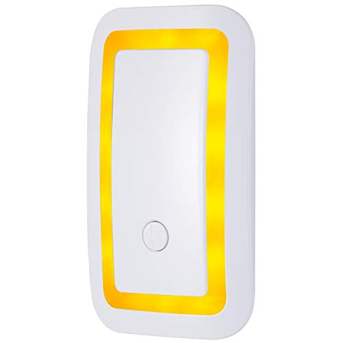 GE Enbrighten SleepLite LED Night Light, Plug-in, Dusk-to-Dawn Sensor, Melatonin, Natural Sleep, Amber Glow, Ideal for Bedroom, Nursery, Bathroom, 39977, 1 Pack, White | Dimmable