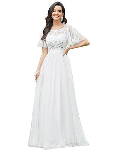 Ever-Pretty Abito da Sposa Stile Impero Maniche Corte Linea ad A Elegante Scollo a Rotondo Donna Tulle Bianca 50