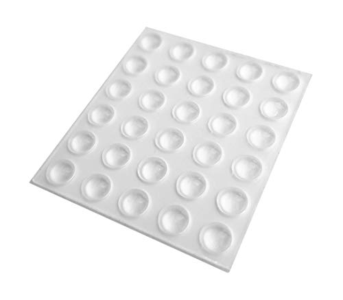 30 Mini Clear Self Adhesive Domed Rubber Feet, Bumper Stops for Coasters, Glass, Crafts - 6.4mm x 1.9mm