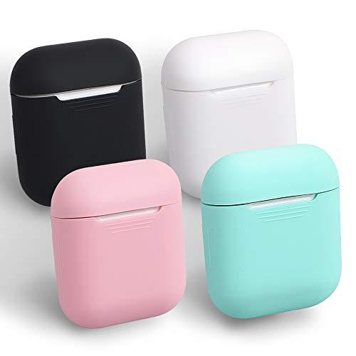 Homedge Airpods custodia, 4confezioni Seamless Fit silicone copertura protettiva per Apple Airpods di colore nero, bianco, rosa e verde menta