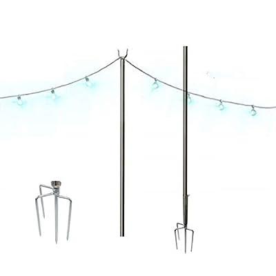 Outdoor String Lights, String Light Terrace Garden Terrace Residential Cafe Wedding Decoration with 10 Feet Rust Bracket LED or Suspended Light Solar Bulb Upgrade (Stainless Steel)