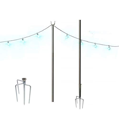 Outdoor String Lights, String Light Terrace Garden Terrace Residential Cafe Wedding Decoration with 10 Feet Rust Bracket LED or Suspended Light Solar Bulb Upgrade (Stainless Steel)