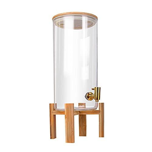 Dispensador de Jugo Dispensador de bebidas de vidrio con grifo - Beber tarro con tapa y soporte de madera para bebidas calientes o frías Punch Agua helada para fiestas Dispensador de Jugo Doméstico
