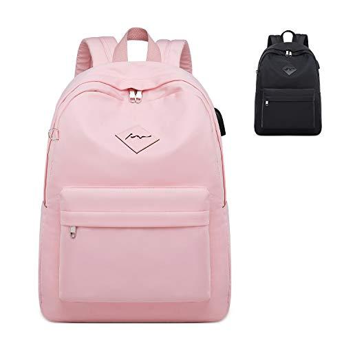 FEDUAN original Campus Rucksack mit Laptopfach für 15,6 Zoll USB Ladeanschluss Damen Herren Schulrucksack Mädchen Teenager Jungen Schultasche Schule Uni Arbeit Business Backpack M3 pink rosa