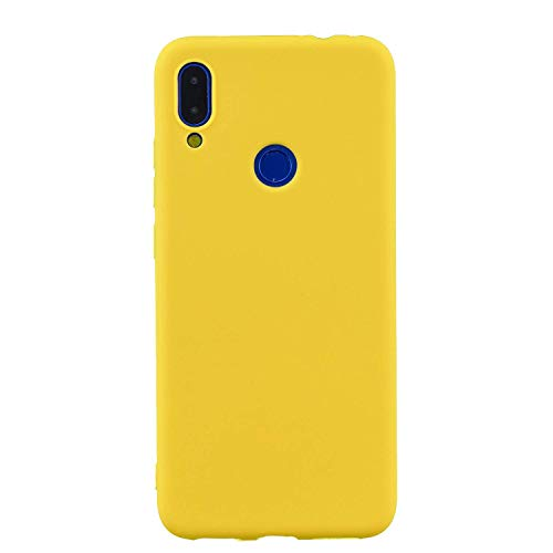 cuzz Funda para Xiaomi Redmi Note 7+{Protector de Pantalla de Vidrio Templado} Carcasa Silicona Suave Gel Rasguño y Resistente Teléfono Móvil Cover-Amarillo