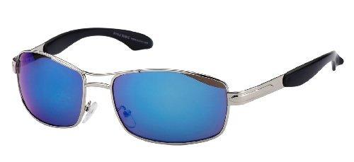Subke 8015 Lunettes de soleil Modern Line - Argenté - silberner Rahmen, blau verspiegelte Gläser - taille unique