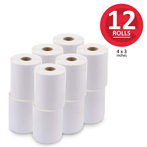 """enKo (12 Rolls, 6000 Labels) 4 x 3"""" Direct Thermal Address Mailing Shipping Barcode FBA Stickers FN SKU Labels for Zebra,Eltron (Perforated)"""