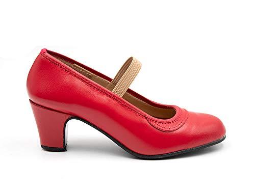 Malaca - Zapatos de Baile Flamenco con Clavos, sujección con Goma elástica, para: Niña Color: Rojo Talla:37