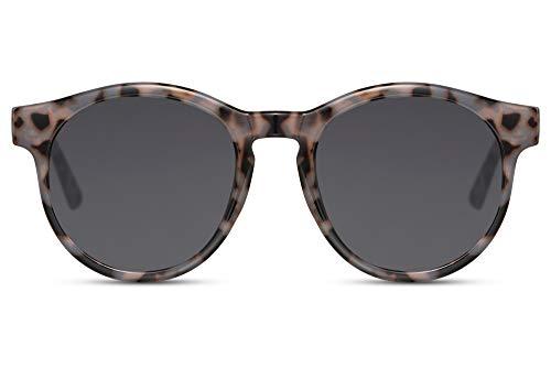 Cheapass Gafas de Sol Retro Vintage Redondas Montura Gris Leopardo con Lentes Oscuras UV400 protegidas Hombres Mujeres