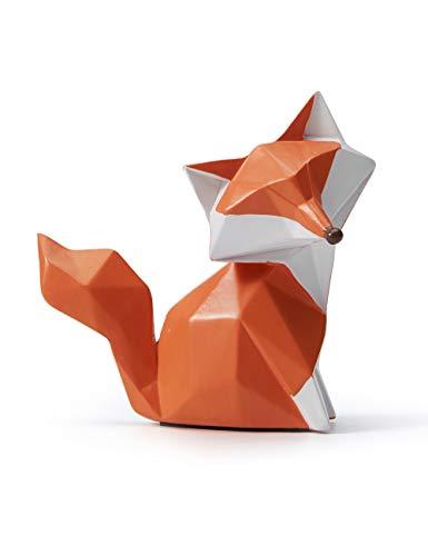 Amoy-Art Skulptur Figur Fuchs Statue Art Geometrisch Tier Dekor für Haus Wohnzimmer Geschenk Andenken Giftbox Resin 9.5cmH
