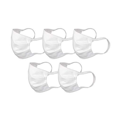 DIM -   Mascarilla (Cotton Face Masks),  Color Blanco,  Talla Unica Unisex Adulto,  (5- Pack)