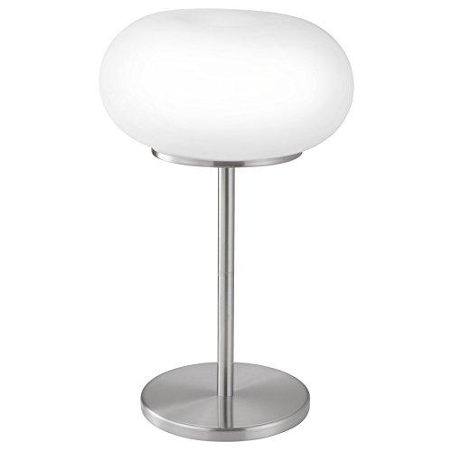 EGLO Tischlampe Optica, 2 flammige Tischleuchte, Material: Stahl, Farbe: Nickel matt, Glas: Opal matt weiß, Fassung: E27, inkl. Schalter
