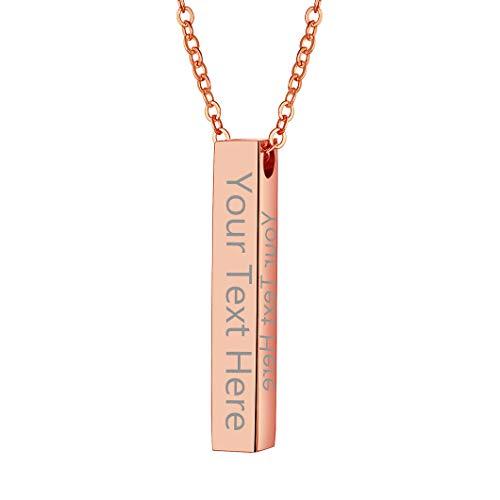 Richsteel Collar con Nombre Personalizable Acero, Colgante de Barra Vertical Color Platino/Dorado/Negro/Rosado, Gargantilla Minimalista para Mujer Chica