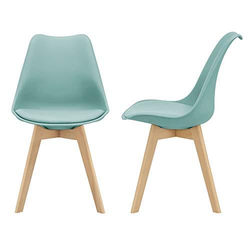 [en.casa] Juego de sillas de Comedor 81 x 49 x 57 cm Silla tapizada en Cuero sintético Patas de Madera de Haya Sillas de Cocina Set de 2 sillas Color Verde Menta