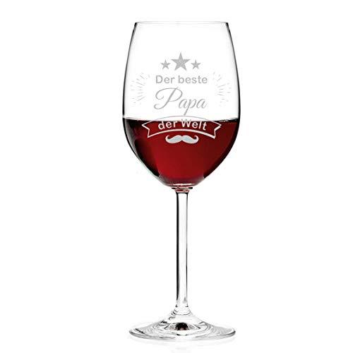 Leonardo Weinglas Personalisiert mit Gravur - Der Beste Papa der Welt - Rotwein-Glas 460ml - Geschenkidee für Papa ideal als Vatertagsgeschenk für Männer