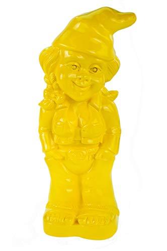 RAKSO Gartenzwerg Zwergenfrau Mandy Gelb Edition 34 cm PVC Zwerg Garten Zwerg Figur