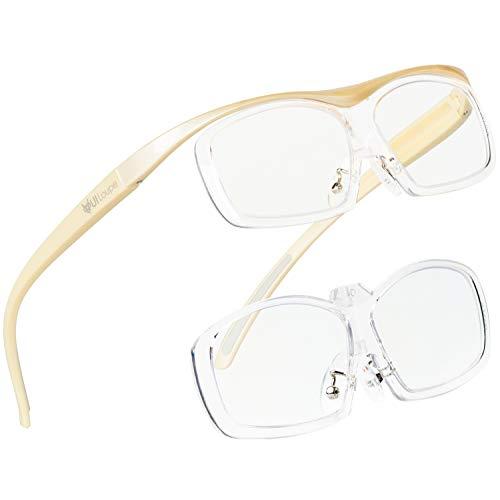 Kenko メガネ型拡大鏡 YUIルーペ レンズ交換式 ラージサイズ 倍率1.6倍/1.89倍2枚セット アイボリー KTL-5108L-IV