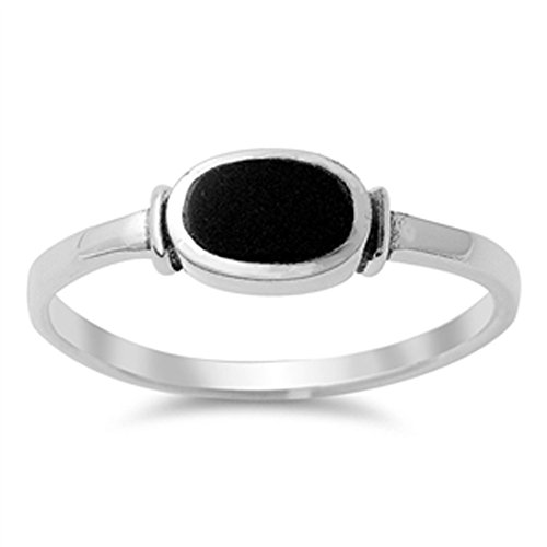 Women's Simple Simulated Black Onyx Unique Ring New .925 Sterling Silver Band Size 6